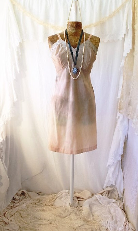 Med/Large Slip Sundress/Tie Dye Dress/Boho/upcycled dress/Peach Dress/Molly Ringwald Sundress/Vintage slip peach ecru/eco upcycled dress