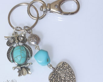Turquoise Owl Key Chain Purse Charm