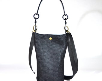 The Longy Bag. Woman Black Vegan Small size Handbag- Shoulder Black Plastic  handle