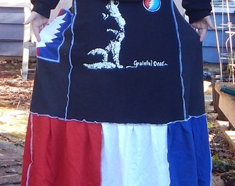 RESERVED Grateful Dead Wolf T Skirt Red White Blue Festival Hippie Holidays OOAK Patchwork