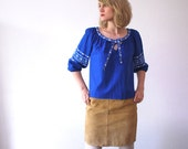 SALE...70s folk blouse. hippie top. electric blue blouse with needlepoint stitching - medium