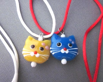 Yellow Cat Necklace, Blue Cat Necklace, Cat Head Pendant Necklace, Lampwork Cat Bead Necklace