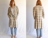 vintage linen overcoat jacket 70s neutral small