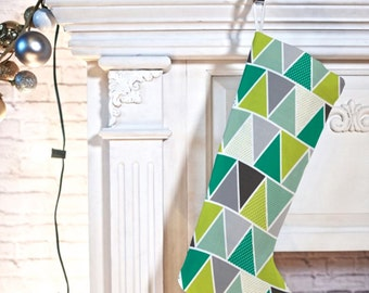 Modern Geometric Christmas Stocking // Christmas Decor // Holiday Decorating // Emerald Triangulum Design // Christmas Decorating // Green