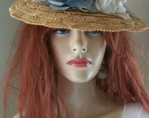Antique Victorian Straw Hat Blue Silk Roses One Size Stunning Unique Easter Bonnet