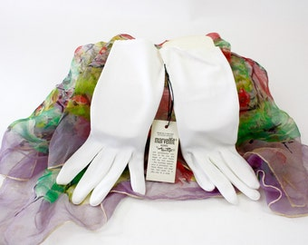 Vintage 60s Ladies Gloves White Nylon Wristlet Dress Gloves Original Tags by Wear-Right Never Worn