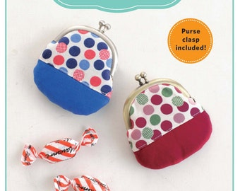 Simple Patchwork Pouch Pattern from Zakka Workshop - Coin Purse Pattern - Clasp Included