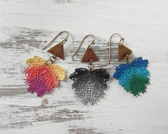Colorful Tie Dye Gradient Lace Rose & Brass Charm Earrings / Hand Painted Lace Tri Color Modern Lightweight Eco Friendly Earrings