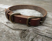 Horween Chromexcel Leather Dog Collar with Solid Brass Hardware