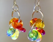Mother's Day Gifts earrings colorful hoop dangles bright silver and gems rainbow colors gifts for her, lampwork earrings brilliant jewels