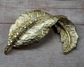 1960's Vintage Gold Swirl Leaf Brooch, Arora Borialis Rhinestone, Antique, Retro, Estate, Wedding Pin,  Bridal Bouquet Jewelry