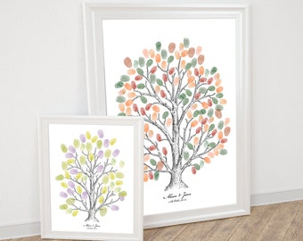 wedding fingerprint tree guest book - printable - ink style drawing thumbprint anniversary illustration sketch milestone birthday retirement