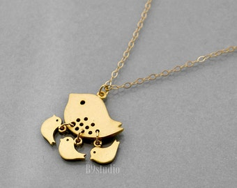 Mother Bird Necklace, dainty small bird jewelry, Mama 1 2 3 baby birds necklace, gold filled chain, mom love, family jewelry, holidays gift