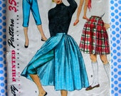Vintage 1950's Pattern, Simplicity 1231  - Misses Wrap-Around Skirt and Tapered Capri Pants in Two Lengths  * Waist 28