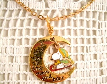 Friends Snoopy and Woodstock Sledding Necklace  Vintage Aviva Charm Necklace Love you to the Moon and Back Friendship Necklace