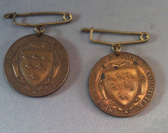 1930's West Sussex England Education Committee Award For Excellence Medallion, School Attendance Awards, British Award Medals,School Awards