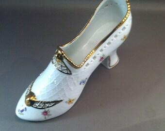 KPM Porcelain Slipper Shoe, German Porcelains,  Porcelain High Heel Shoe, German Slipper, Fancy Porcelain, 1970s Porcelain **USA ONLY**
