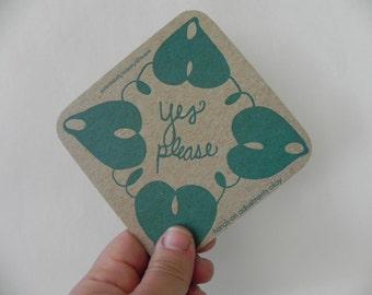 SALE! Letterpress Consent Cards for Yoga Teachers--mixed colors