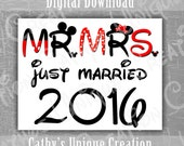 Mr and Mrs Mickey and Minnie Mouse Just Married 2016 Disneyland Disney World Printable Letter INSTANT DIGITAL DOWNLOAD