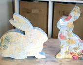 Easter Decor, Spring Decor, Wood Easter Bunny, Pair