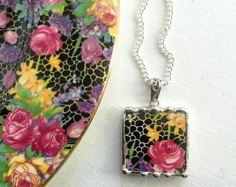 Ecofriendly jewerly, Broken china jewelry pendant antique Hazel chintz royal winton daffodil pink rose