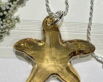 Necklace-Swarovski Crystal Starfish-Golden Shadow-Large-Bold-Starfish on Sterling Silver Diamond Cut Chain-16 or 18 Inches-Beach Jewelry