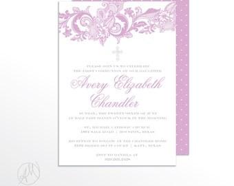 Lavender Lace Printable Baptism Invitation, Christening Invites, Baby Girl Baptism Announcement, DIY Elegant Dedication Invitations