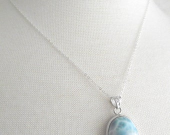 Large Silver Oval Larimar Necklace, Silver Necklace, 18 inch Silver Chain, Oval Larimar Pendant