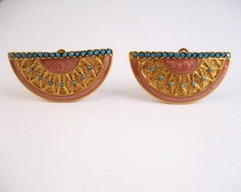 CLOSING SALE Vintage gold and turquoise Southwestern-style earrings. 1980s. Clip ons. Peach enamel. Turquoise rhinestones.