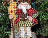 Genoa Santa Cross Stitched and Beaded Christmas Tree Ornament - Free U.S Shipping
