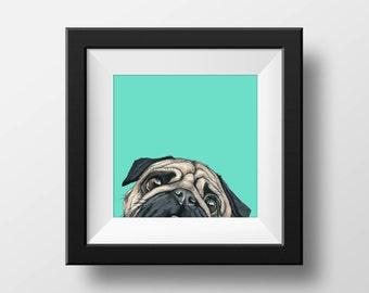 Peeking Pug Art Print- Dog Art print- Funny Animal Art Print- Art for Kids Room