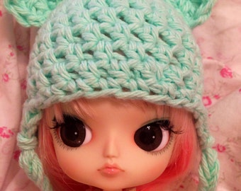 Kawaii Crochet Bear Ears Hat for Dal Dolls