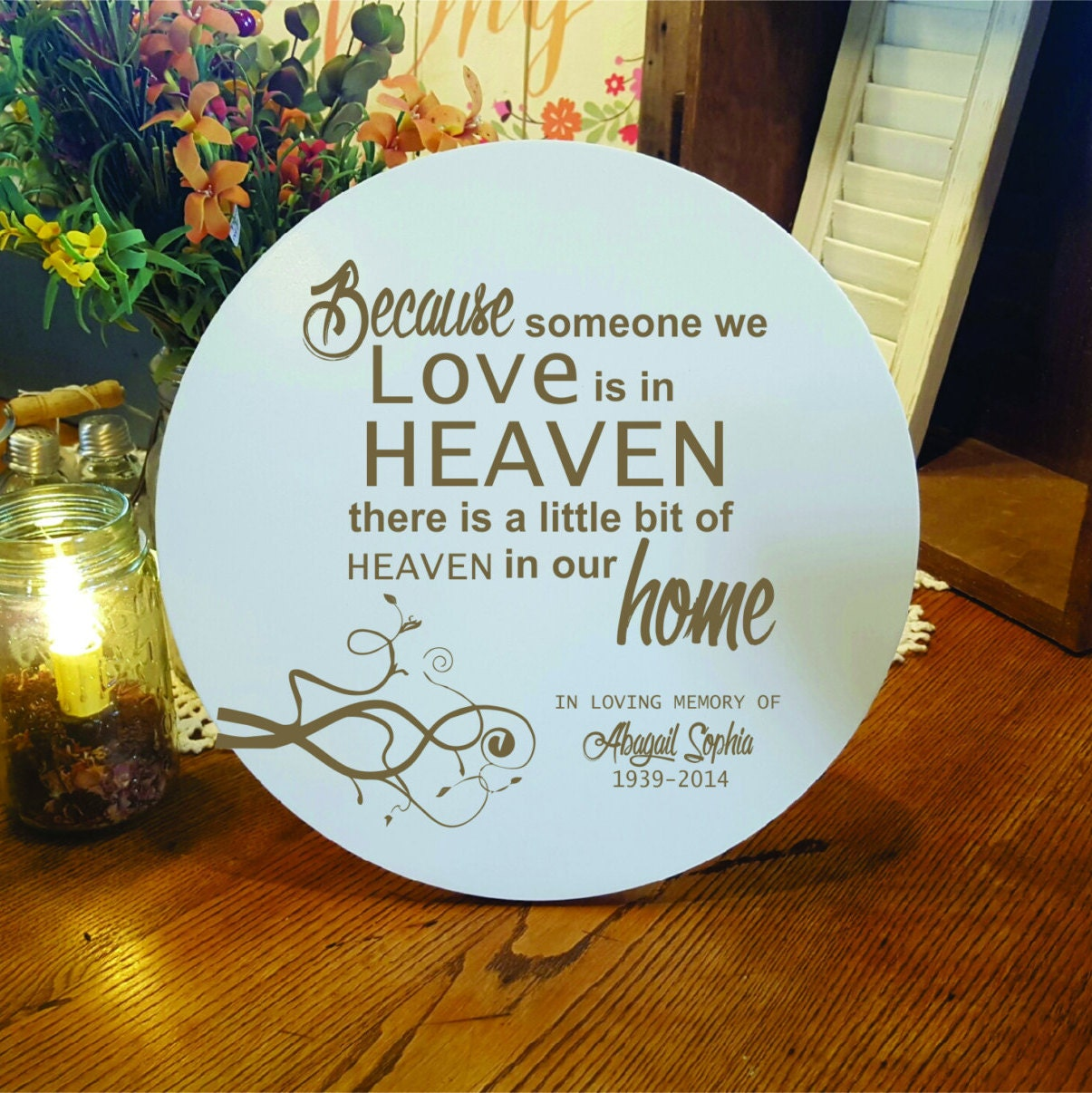 Personalized Memorial Gift Heaven In Our Home Memorial Laser