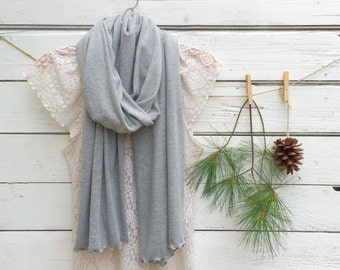 Heather Gray Scarf, Long Scarf, Jersey Scarf, Light Grey Scarf, Summer Scarf, Womens Fashion, Gift Idea, Bridesmaid Gift Idea