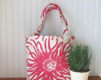 Tote Bag, Floral Tote Bag, Pink Tote Bag, Spring Hand Bag, Summer Tote Bag, Handbag, Purse, Shoulder Bag, Book Bag, Gift Idea