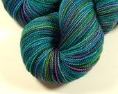 hand dyed sock yarn - sock weight superwash merino wool yarn - aegean multi - knitting yarn, fingering, turquoise, indie hand dyed yarn