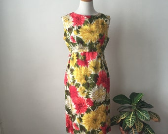 Vintage 1960s Pink and Yellow Silk Floral Cocktail Dress