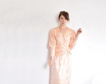 1940 style peach silk dress . draped bow waist . for secretaries who moonlight as lounge singers .small .sale