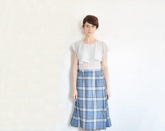 blue plaid scottish kilt . traditional bagpiper skirt . straps and silver pin .medium.large .sale