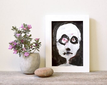 """contemporary expressionism: """"Quincy (abject head #2),"""" original mixed media painting"""