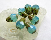 NEW BEACH DROPS .  Czech Picasso Glass Beads . 8 mm by 6 mm (10)