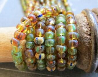 NEW JUNGLE STRIPE Mix .  Czech Picasso Seed Beads . size 6/0  ( 50+ beads)