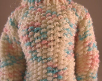 Hand Knit Doll Clothes Lavender Turtleneck Sweater fits 11 1/2 inch fashion doll such as Barbie