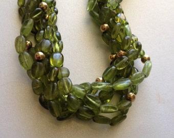 Six Strand Peridot Necklace