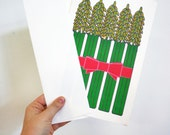 Vintage 1970s Pop Art Asparagus Bouquet Risograph Print/Oversized Greeting Card with Envelope
