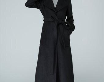 Maxi coat winter coat wool coat womens coats black coat