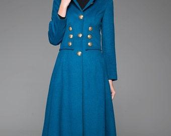 Blue coat, wool coat, military coat, long coat, womens jacket, fitted coat, designer coat, coat dress, luxury coat, trench coat (1409)