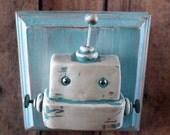 Blue Bot MINI WALL ART 3D Robot Sculpture - Clay, Wood, Wire