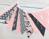 Bunting Banner, Girl Nursery Decor, Birthday Decoration - Grey, Pink, Gray, Aztec Nursery, Tribal Nursery, Arrow, Deer, Woodland