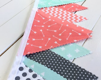 Bunting Fabric Banner, Fabric Flags, Photography Prop, Aztec Nursery Decor, Arrows - Mint Green, Gray, Coral Pink, Grey, Arrows, Chevron